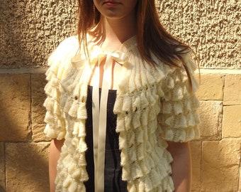 Knitted Cardigan, Jacket Champagne, Romantic Vest Sleeves, Women Spring Summer, Satin Ribbon,NEW DESIGN