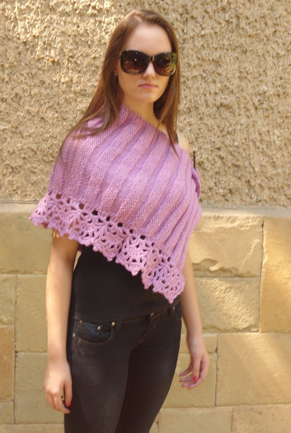 Knitted Capelet, Knitted Shrug, Knitted Wrap, Pink Neckwarmer,  Pink Woman Shawl , Charming Elegant Fashion,  Woman Shawl Pin