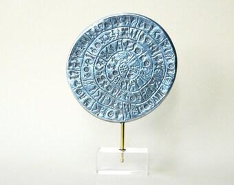 Greek Phaistos Disc Sculpture, Greek Minoan Crete Sculpture in Aluminium, Greek Mythology, Metal Art Sculpture, Museum Quality Art Replica