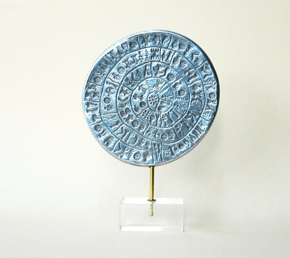 Greek Phaistos Disc Sizeable Sculpture, Greek Minoan Sculpture in Aluminium, Greek Mythology, Metal Art Sculpture, Museum Quality Art