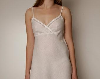 Linen White Short Night Gown/ Linen Slip Laced/ Linen Underwear/ Linen sleepwear/ Linen Robe