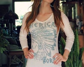 American Born native american chief headdress White Long Sleeve tee