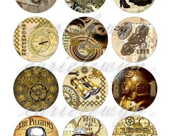 Steampunk Bottlecap Images / Vintage Heart, Gears, Clock, Skull / Printable Bottle Cap Images 1-Inch Circles / Instant Download