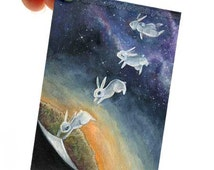 White Rabbit Art Print, Bunny ACEO, Floating Outer Space Artwork, Animal Illustration, Mental Health Art, Surreal Picture