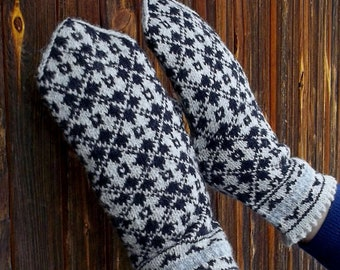 hand knitted wool mittens, patterned mitts, latvian mittens, knit winter gloves, knitted gray black mittens, nordic mittens , made to order