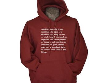 Halloween Sweater - Hooded Sweatshirt - Fall Hoodie - Cool Zombie Definition Screenprint