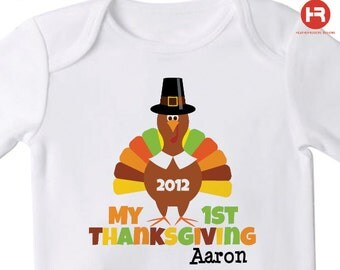 Babys first thanksgiving outfit - 1st Thanksgiving Shirt or Bodysuit - Personalized Thanksgiving Shirt or Bodysuit