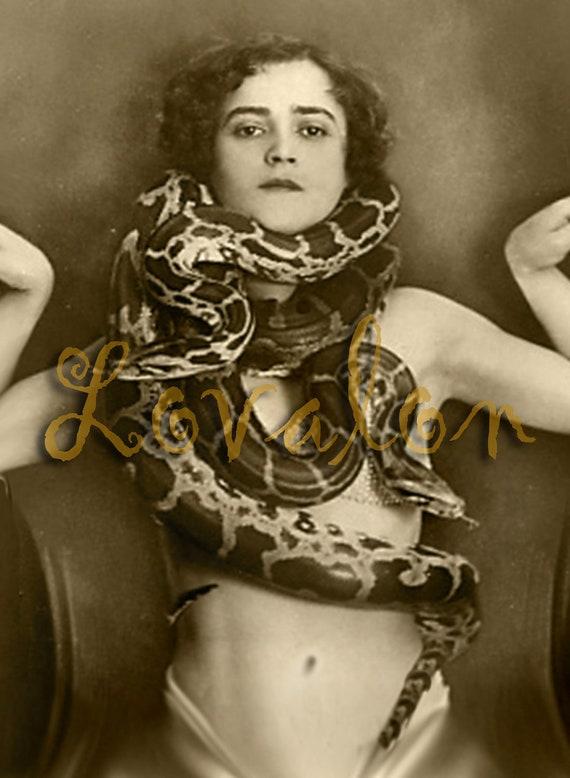 MATURE... Snake Eyes... Instant Digital Download... 1920's Vintage Nude Photo Image by Lovalon