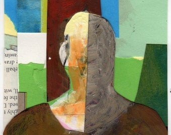 Original Mixed Media - 'The Bald Man in the Confusing Landscape' by Peter Mack 2012