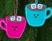 Set of Two- His and Hers Hot Cocoa Chocolate Mug Christmas Holiday Tree Ornaments Turquoise and Pink