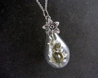 Sale 40% OFF: Dried SEA LAVENDER in glass drop with silver flower and long necklace. Summer jewelry for her.