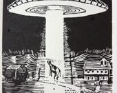 T: Retro Science Fiction Alphabet Letter, Tuesday Night Cow Linocut (woodcut-ish) print