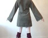 Green Elven tunic for women- Medieval tunic - SCA - Pixie hoodie - Link hoodie - Psy hoodie- festival - pointy hood - hippie hoodie dress