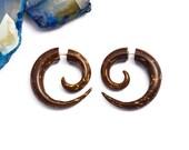 Fake Gauge Earrings Coconut Shell Wooden Spiral Tribal Earrings - Gauges Plugs Bone Horn - FG009 CS G1