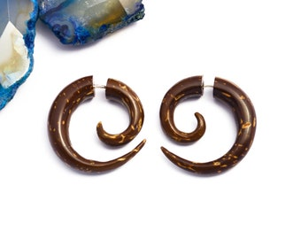 Fake Gauge Earrings Coconut Shell Wooden Spiral Tribal Earrings - Gauges Plugs Bone Horn - FG009 CS G1