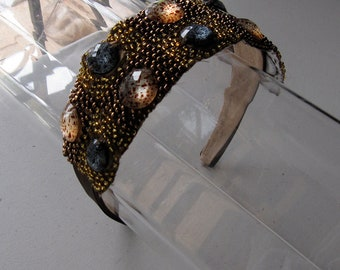Brown Beaded Stone Applique Satin Headband, for weddings, parties, evening, special occasions
