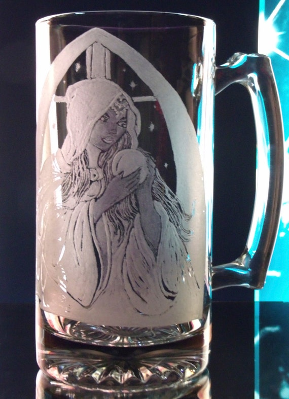 "hand engraved glass mug magical one of a kind ""Night Sorceress"""