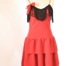 Red Fringe Ruffle Dress - Size Small