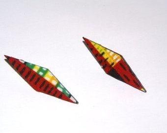 Stud Earrings - Fabric Covered Wood Earrings