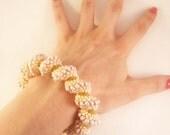 Twisted Bracelet, Beaded Spiral Bracelet, Chunky Cream Bead Bracelet, Curly Bracelet, UK Seller