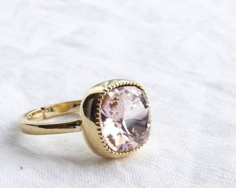 Swarovski Cushion Cut Vintage Rose Solitaire Gold Ring. Adjustable Ring. Gift fo Her. Jewelry under 25. Simple Modern Jewelry