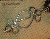 HAMMERED CHINESE / CELTIC Brooch, Hair Pin or Shawl Pin For Scarf made with Aluminum Wire - Very light to wear -
