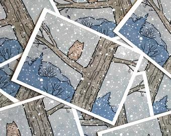 Owl Falling Snow Christmas Card Set - 10 cards