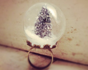Snow Globe Ring GLASS Pine Tree ring Christmas Tree Ring WINTER-SNOW Antique bronze  vintage style