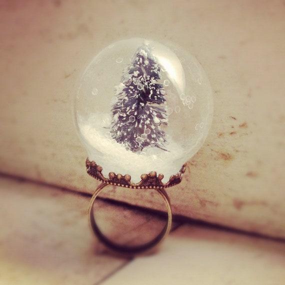 Items Similar To Snow Globe Ring Glass Pine Tree Ring