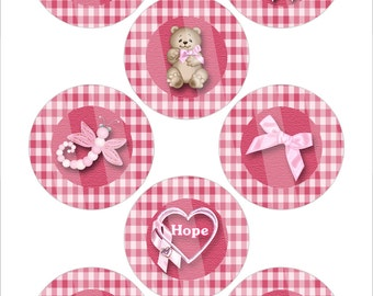 "Pink Gingham 1.313"" Breast Cancer Awareness Button Images AS003"