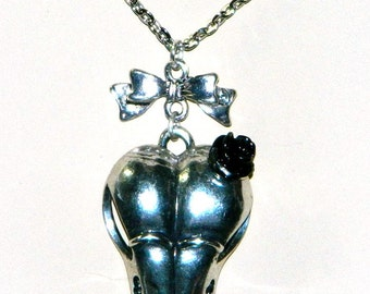 Goth Necklace, Bird Skull, Black Rose, Silver Bow, Rocker Necklace