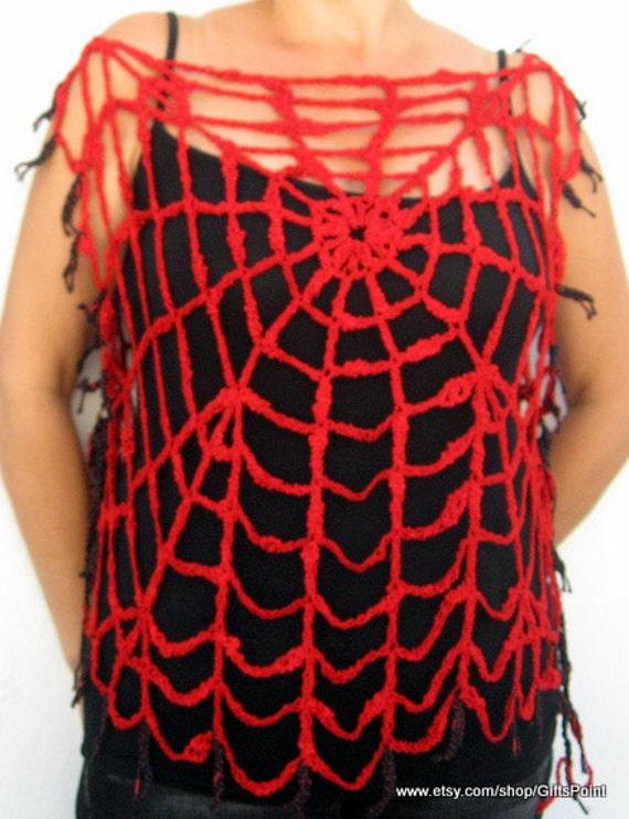 Halloween Spider Web Lydia Deetz Look Goth Halloween Costume One Size Red Spiderweb Top