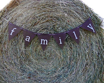 FAMILY Burlap Banner Brown Bunting Jute Garland Home decor Photo prop Family Reunion Sign wall art Barbeque