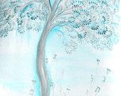 blue harmony - ketubah- print of watercolor and digital artwork- custom