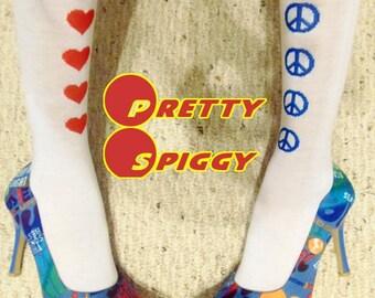Anne Michelle Blue Multicolored Jean Print Graffiti Pointed Toe Stilettos Heels Women's Size 7