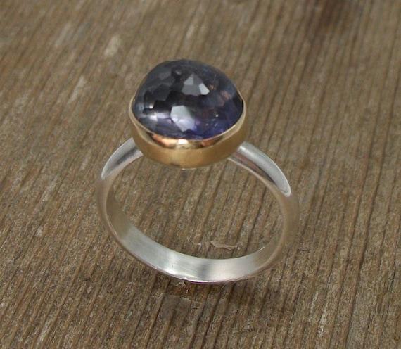 Amethyst Ring 14K Gold and Sterling Silver Micro Facteted Gemstone, Lolite, Purple Gemstone, OOAK