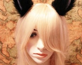 BLACK inner white 9 cm Cat Ear Kitty ear LONG FUR Elf Gothic Hair Clip Cosplay Costumes Party Black Friday Cyber Monday