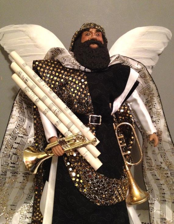 African American Male Angel Of Music Christmas Angel Black