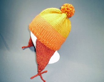 Wool Blend Firefly Inspired Cunning Hat in Yellow, Orange and Rust