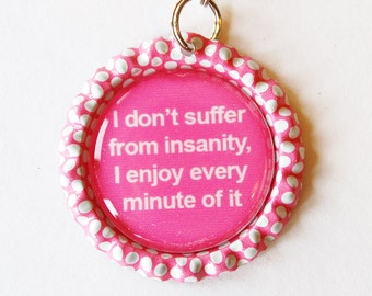 Zipper Charm, Purse Charm, Charm, Polka Dots, zipper charm, Funny Saying, Humor, pink, bottlecap charm, zipper pull (1737)