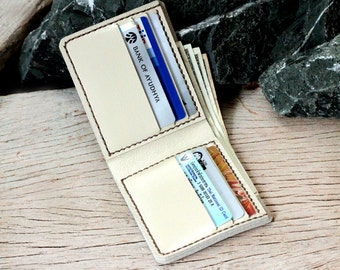 Ivory cream leather wallet
