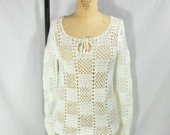 vintage DKNY white crochet top / size small