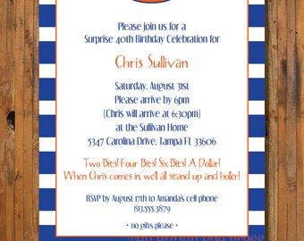 Florida Gator Birthday Party Invitation - Two Bits Invitation - Gator Tailgate - University of Florida Graduation invitation - Item 0066UF