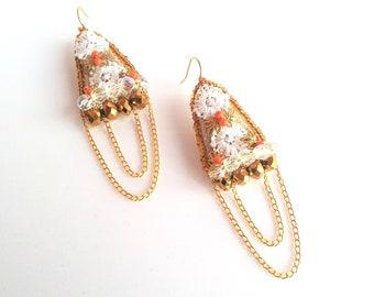 Dangle earring,boho jewelry,bohemian earrings,long earrings,geometric jewelry, golden earrings, textile jewelry, casual chic,festival summer
