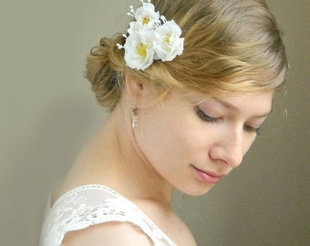White Wild Rose Bobby Pin Trio  - Snow White Rose Hair Pins - Bride - Bridesmaid - Flower Girl - Rustic Weddings