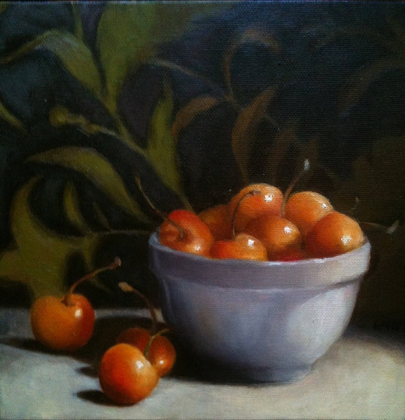 RESERVED Still Life Painting, Original Artwork by Livia Mosanu titled Rainier Cherries
