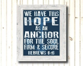 Nautical Sign Compass Printable Word Art Hebrews 6 19 Bible Verse JPEG File Instant Download SALE Fund Raiser Charity