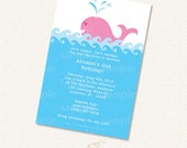 Pink Whale Invitation Printable Party Kit SALE for Baby Shower or Birthday Party instant download editable pdf customize diy