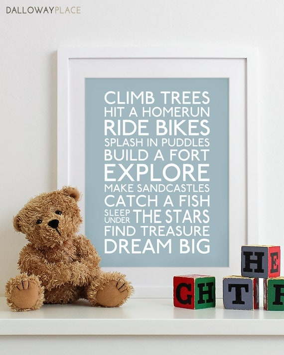 Baby boy nursery art print nursery decor kids wall art for Room decor etsy