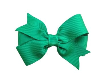 3 inch green hair bow - green bow, toddler bows, girls hair bows, baby bows, pinwheel bows, 3 inch bows, girls bows, girls hair clips